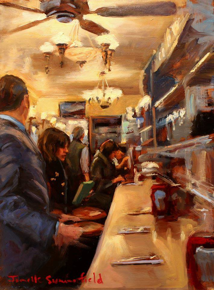 "Cover Art by Jonelle Summerfield, ""Cafe Scenes"" for Issue 10 After Happy Hour Review"